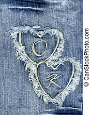 A close-up about jeans fabric with embroidery