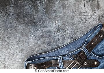 Jeans on dark background