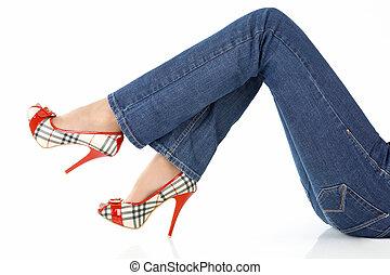 Jeans on female legs