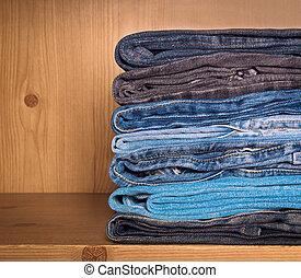 jeans, op, een, houten, plank