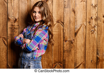 jeans overalls - Pretty teen girl in casual jeans clothes...