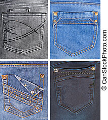 A collection of jeans pockets of different colors.