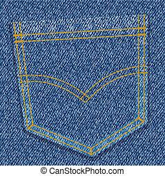 jeans pocket - vector illustration - blue jeans pocket