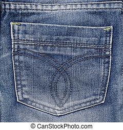 Jeans pocket. Fragment of jeans.