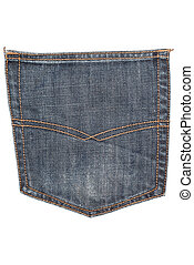 Jeans pocket isolated on white background