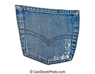 Jeans pocket on a white background