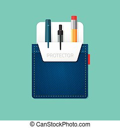 Jeans pocket protector vector illustration - Pocket jeans...