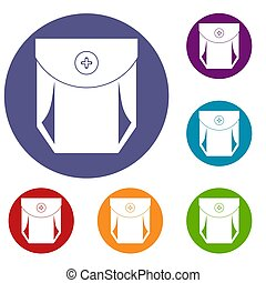 Jeans pocket with button icons set
