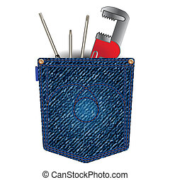 jeans pocket with tools