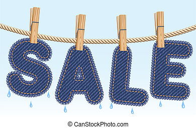 Jeans SALE drying on a clothesline - Blue jeans SALE word...