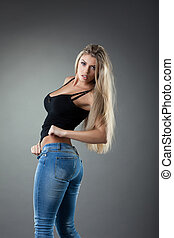 jeans, sexy, blond, frau