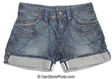 Jeans shorts on a white background