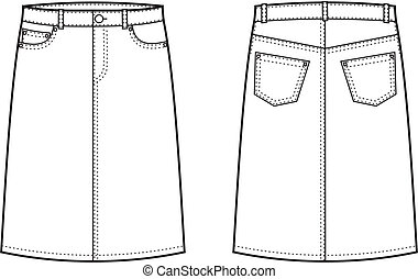 Vector illustration of women's jeans skirt. Front and back views
