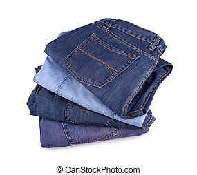 Jeans - Stack of jeans isolated on white background.