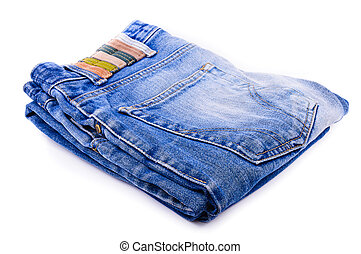 Jeans stacked. The photo on white background