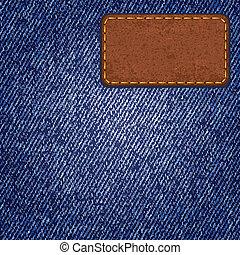 jeans, struktur, med, läder, label., vektor