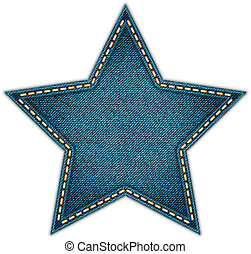 Jeans Tag Star Isolated on White background. Eps10