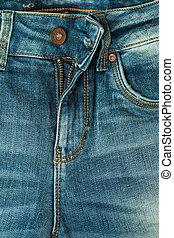 close up blue jeans zip