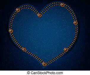 Jeans texture with heart