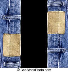 jeans, textuur, met, leder, etiket, vrijstaand, zwarte achtergrond