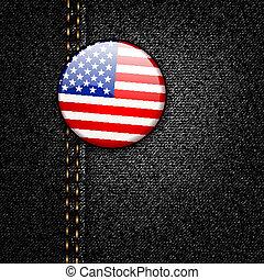 jeans treillis, drapeau, texture, américain, vecteur, écusson