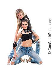 jeans treillis, jeune, isolé, deux, sexy, blanc, femmes