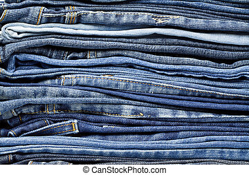 Jeans trousers stack closeup