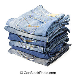 Jeans trousers stack on white background
