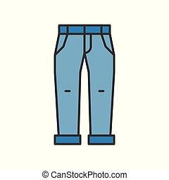 Jeans vector illustration, filled color outline editable ...