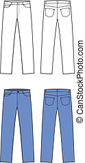 Jeans - Vector illustration of jeans. Front and back views