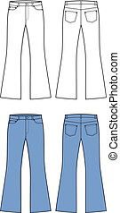Vector illustration of jeans. Front and back views