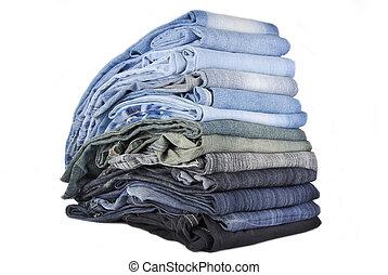 jeans, vrijstaand, gevarieerd, achtergrond, witte , stapel