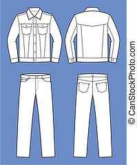 Jeans wear - Vector illustration of men's jeans suit. Jacket...