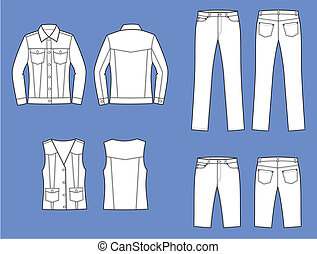 Vector illustration of women's jeans clothes. Jacket, waistcoat, pants, shorts, Front and back views