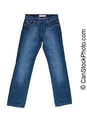 jeans, weiß, hintergrund