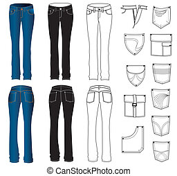 jeans, white.vector, kleidung