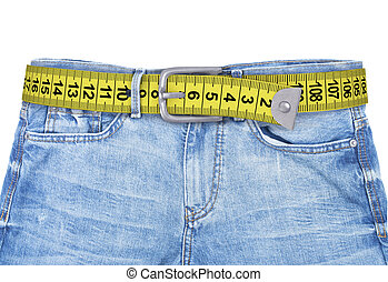 jeans with meter belt slimming isolated on the white...