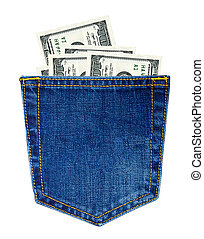 Jeans with money - Hundred-dollars bills in back jeans...