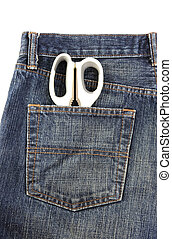 Jeans with scissors