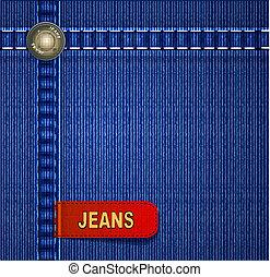 jeansstoff, hintergrund, rotes , etikett