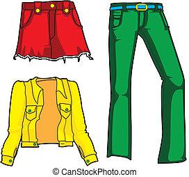 jeansstoff, mode, neon