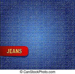 jeansstoff, vektor, roter hintergrund, etikett