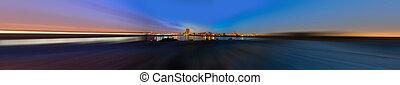 Jeddah at dusk with radial blur