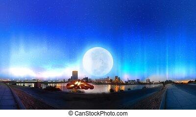 jeddah city night with aurora