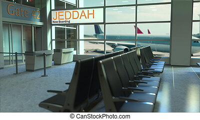 Jeddah flight boarding now in the airport terminal. Travelling to Saudi Arabia conceptual 3D rendering