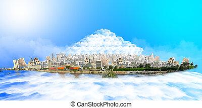 jeddah, op, zee, van, wolken, met, blauwe
