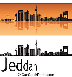 Jeddah skyline in orange background in editable vector file