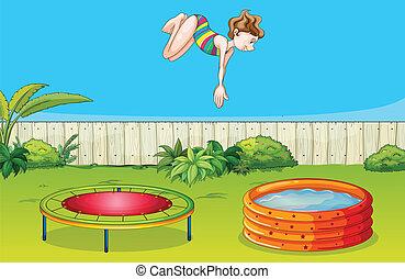 jeden, děvče, hraní, trampolína