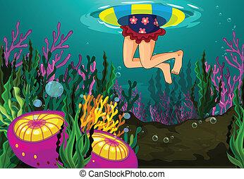 jeden, děvče, plavání