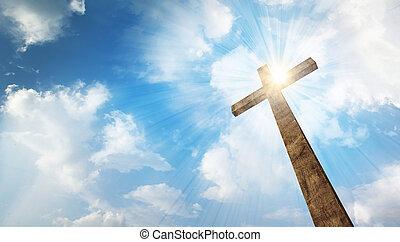 jeden, dřevěný, kříž, s, nebe